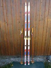 "Ready to Use Cross Country 81"" MUNARI 205 cm Skis WAXLESS Base +  Poles"