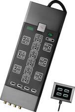 Rocketfish- 12-Outlet/8-USB Surge Protector Strip - Black