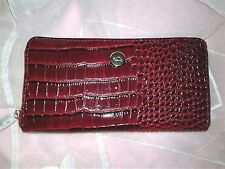 Women Wallet New Italian Carpisa Red & Black Alligator Leather  Zip Around