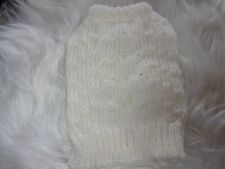 White Cable Knit Dog Sweater new pet XS Top Paw puppy Xsmall