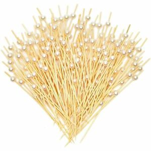 White Pearl Cocktail Picks, Bamboo Toothpicks (4.7 In, 150 Pack)