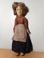 Great Antique Doll Old Woman Hair Natural Fabrics Cloth