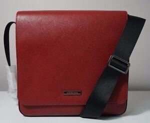 Michael Kors Men's Andy Leather Cardinal Red Medium Crossbody Messenger Bag