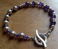 Handmade Amethyst and Sterling Silver Beads and Clasp Bracelet 17.5 cm