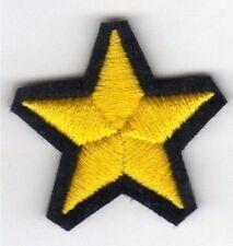 [Patch] STELLA cm 3,7 filo giallo su nero toppa ricamata ricamo termoad -123