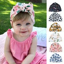 e98200a77cd Cute Newborn Baby Girl Toddler Floral Print Knotted Turban Skull Cap Beanie  Hat