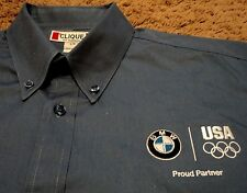 Men's BMW Proud Partner USA Olympics Long Sleeve Oxford Dress Shirt Large