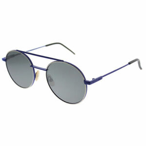 Fendi FF 0221 PJP T4 Blue Metal Round Sunglasses Silver Mirror Lens