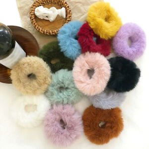 Soft Faux Rabbit Fur Scrunchie Plush Hair Rope Rubber Bands Hair Ties Ponytail