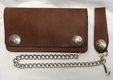 "Brown Leather Trucker Wallet Buffalo Nickel Snaps 6"" x 3.5"" With 12"" Chain USA"