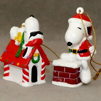 PEANUTS SNOOPY Christmas Ornament Resin Dog House Santa Chimney 2 Pc USA SELLER
