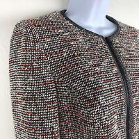 KAREN MILLEN Boucle Knit Multi Color Jacket Womens Size 6 Career Formal Blazer