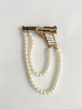 01A CHANEL Faux Pearl Jewel GUN Pin Brooch Gold Tone Small