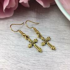 Simple GOLD Cross EARRINGS Dangle Drop HOOK Dainty FAITH Spiritual Vintage GIFT