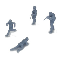 Outland Models Railroad Scenery Western Cowboy Gunman Figurine Set HO Scale