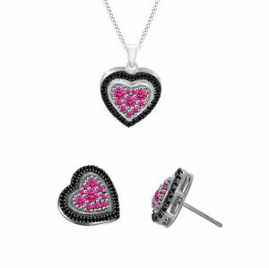 1.00CT Sapphire & Spinel Heart Pendant W/ Chain & Stud Earrings Set Platinum 925