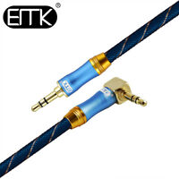 EMK 3.5mm Audio Cable 90 Degree Right Angle AUX Stereo Speaker Phone Cable 3ft