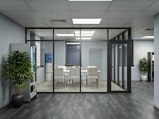 Cgp Glass Aluminum 2 Wall Office Partition System Withdoor 10x6x9 Black
