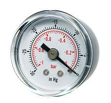 """Calibrador de vacío para agua o aceite combustible aire 40mm 0/30""""Hg y 0/-1 Bar 1/8"""" BSPT atrás"""