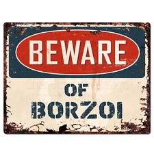 Ppdg0133 Beware of Borzoi Plate Rustic Tin Chic Sign Decor Gift