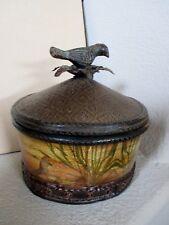 CBK Large Brown Trinket Box,  Patina Bird Handle and Wicker Top, Nature Scene