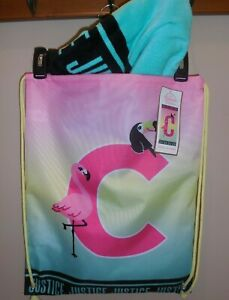 Justice Girls Beach Boutique Towel In A Bag Beach Tote Initial C New Flamingo