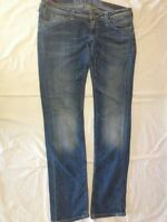 Evisu Geisha - Jeans blu sfumato - taglia 31 - 98% cotone 2% elastan - USATI