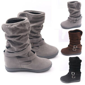 Winter Double Buckle Plus Velvet Slip On Suede Ankle Boots Casual Flats Shoes