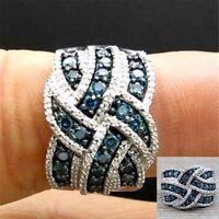Wunderschöne 925 Silber Blue Sapphire Ring Engagement Ehering Schmuck mode