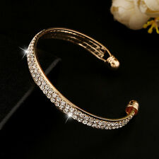 Lady Women's Gold Crystal Rhinestone Bangle Cuff Bracelet Jewelry#