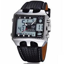 OHSEN aiguilles digital Quartz Cuir Bracelet Homme Montre Cadran Noir Alarme