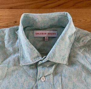 Orlebar Brown Shirt Lightweight Seersucker Green & White Striped L/S Medium New