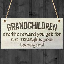 Grandchildren Are The Reward Novelty Wooden Hanging Plaque Grandparents Gift