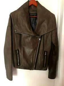 Andrew Marc Women's Gray Genuine Leather Moto Jacket, Size M