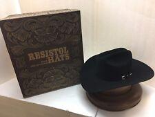 "Resistol 20X Black Gold Fur Felt Hat BLACK Regular Brim 4"" !!"