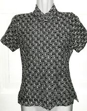 Taillierter Kurzarm Pullover in Glamour-Silberweiß & Schwarz*Spitzen Strickart*S