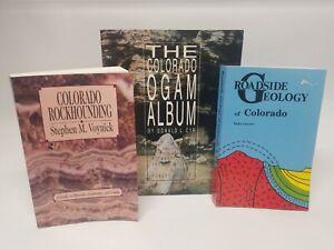 3 Books Colorado Rockhounding Ogam Album & Roadside Geology of Colorado