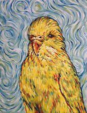 Van Gogh, budgie, parakeet, bird art, blank greeting card. humour, oil painting