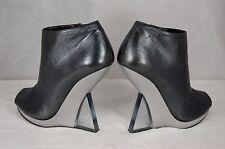Salvatore Ferragamo Plexi Wedge Heels Metallic Leather WOMEN ANKLE  BOOTS 7.5
