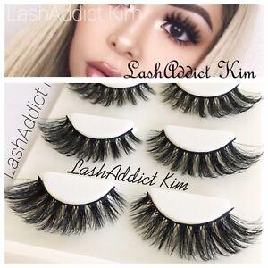 Mink Lashes Eyelashes 3D Flutter 3 pairs Makeup Siberian Miami • New US SELLER