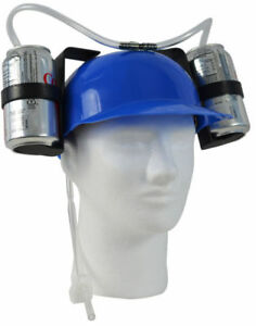 Secret Santa Beer Can Drinking Hat Blue Christmas Gift Soda Helmet Plastic UK
