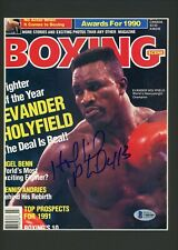 Evander Holyfield Boxing Scene Magazine Cover Signed Autographed Matted BAS