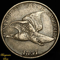 1857 FLYING EAGLE CENT 1c, 081020-04E Free shipping!