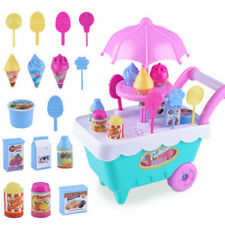 Kids Ice Cream Cart Shop Toy Role Pretend Play Toys Set Gift with Music Lighting