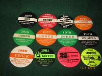 "VTG Monterey Jazz Festival ""USHER"" Button Pins (12) 1971/1975 - 1977/1983"