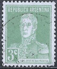 "Argentina Stamp - Scott #343/A104 3c Green ""San Martin"" Canc/LH 1923-1924"