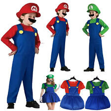 Kids Boys Girls Super Mario Plumber Cosplay Costume Halloween Fancy Dress Outfit