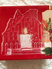 "NIB Mikasa Crystal  Votive Candle Holder, Christmas House, 6"" x 6"" w/ Candle"