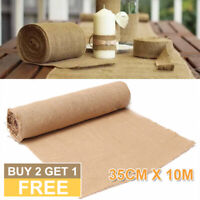 10M*35CM Table Runner Hessian Jute Burlap Roll Vintage Home Wedding Decoration