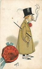 ARTIST SIGNED VANDOCK ELEGANZA cigar smocking man caricature